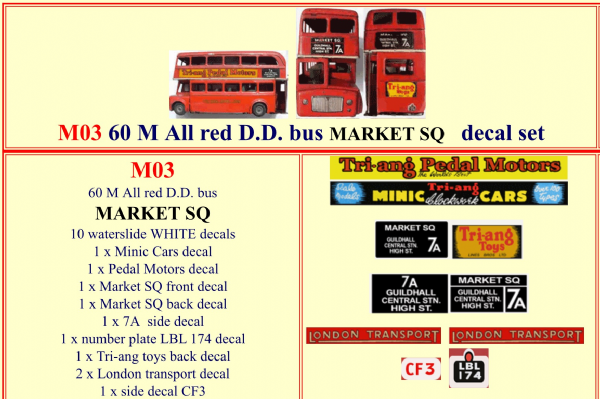 "M03 Tri-ang ( Triang ) Minic 60M All Red Double Decker bus "" MARKET SQ "" decal set"